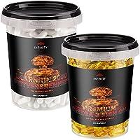 Preisvergleich für L-Carnitin 2000 Fettverbrenner, 350 Kapseln, für Veganer geeignet, Hochdosiert - 2000mg/Portion + 250 Premium...