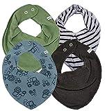 Pippi verschiedene SUPER KOMBI-SETS 3er Set Baby Kinder HALSTUCH Dreieckstücher Jungen Mädchen + 1 GRATIS Bestseller Dreieckstuch ~ Pack mit 4 Stück (Set TRAKTOREN)