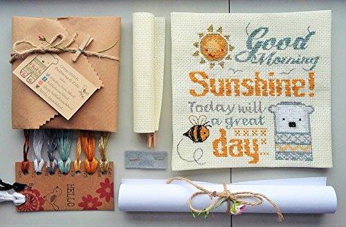 cross-stitch-kit-good-morning-sunshine-needlework-kit-polar-bear-bee-sunshine-typography-motivationa