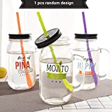 Satyam Kraft (Pack Of 1)Mocktail Mason Jar With Lid And Straw (Random Design)- 800 Ml