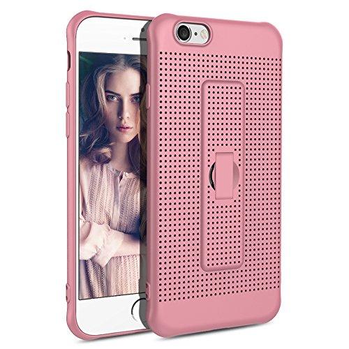 iPhone 6 6s Hülle,Atmungsaktiv Kühlung Mesh Flexibel TPU Anti Fingerabdruck Schutzhülle mit Halter für iphone 6 / iphone6s (Rosegold) (Mesh-handy-halter)