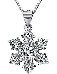 J.SHINE 925 Sterling Silver Necklace Women with 3A 6mm Cubic Zirconia Round Button Pendant Italy 18