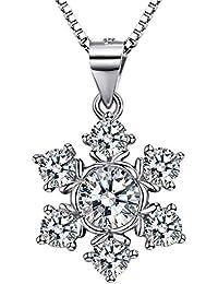 J.SHINE Kette Damen Schneeflocke Halskette Anhänger Basic 925 Sterling Silber 3A 5mm Zirkonia mit Italien 45cm Kastenkette Weihnachten Geschenk