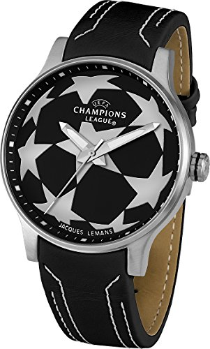 Jacques Lemans Herren-Armbanduhr XL  UEFA Champions League Analog Quarz Leder U-37A