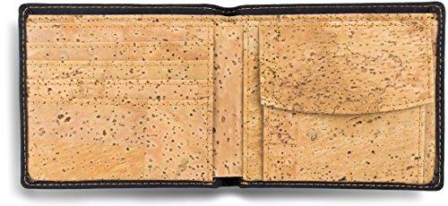 natventure ® Kork Geldbörse für perfekten Tragekomfort & gutes Gewissen, das Original mit Geschenkverpackung, Ökologisch & Vegan mit RFID Schutz, Portemonnaie in braun und schwarz - 3
