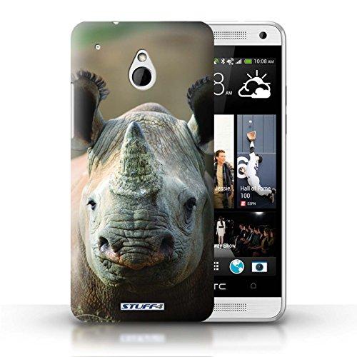 Hülle Für HTC One/1 Mini Wilde Tiere Nashorn Design Transparent Ultra Dünn Klar Hart Schutz Handyhülle Case