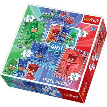 Trefl – Pyjamasques – Yoyo, Bibou et Gluglu – 4 Puzzle Maxi 35, 48, 54 et 70 Pièces