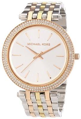 Michael Kors Trilogy MK3203 - Reloj analógico de cuarzo para mujer, correa de acero inoxidable chapado multicolor