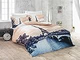 Bettwäsche in 3D romantisches Paris Eiffelturm 100 % Baumwolle Satin Bettbezug Set Doppelbett