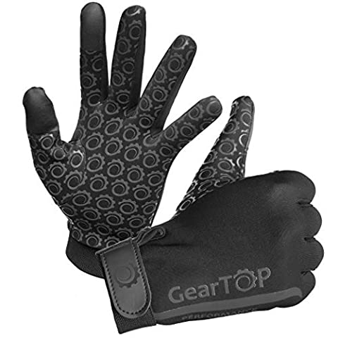 GearTOP Touch Screen Gloves - Great for Running Rugby Football Walking (Black, Large)