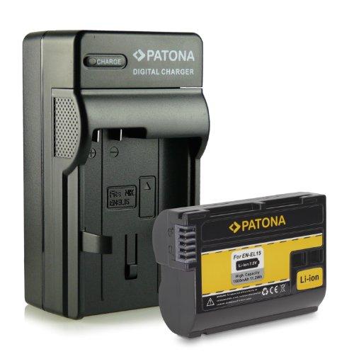 PATONA 4en1 Cargador + Batería EN-EL15 para Nikon 1 V1 | D7000 | D7100 | D7200 | D8000 | D600 | D610 | D750 | D800 | D800E | D810 | D810A | D810E