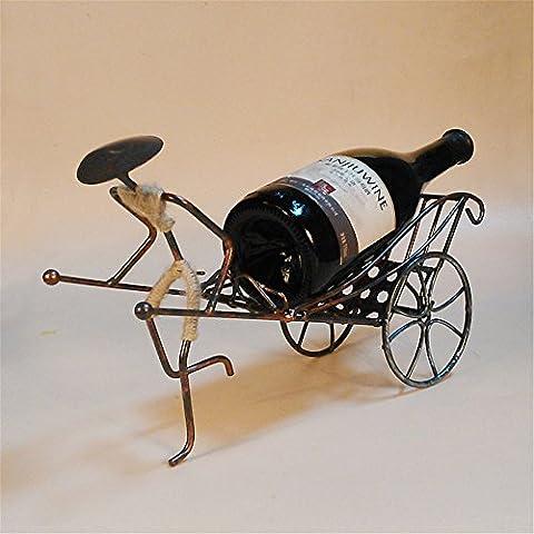 LL-COEUR Porte-bouteille Décoratif Casier à Vin Original Support Bouteille Vintage en Fer Artisanat Main-d'œuvre Rickshaw Idée Cadeau Style