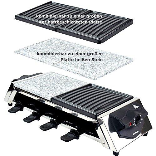 Syntrox Germany Edelstahl Design Raclette Genf 3 in 1 mit Grill und Heißer Stein für 8 Personen