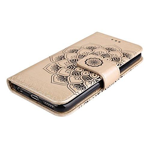Ekakashop Custodia iPhone 5S 5 SE, Puro Colore Fiore Modello Sollievo Design Portafoglio Tasca Book Folding Case Cover in PU pelle Borsa Con Cinturino Portatile Antiurto Shock-Absorption Cover Ultra S doro