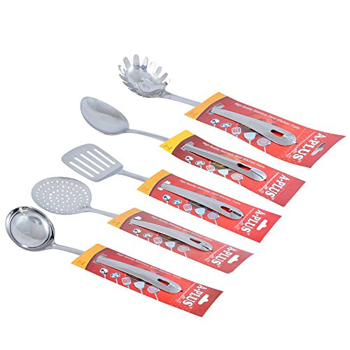 A Plus 5 Piece Stainless Steel Kitchen Tool Set - (Ladle, Skimmer, Turner, Basting & Noodle)  available at amazon for Rs.295