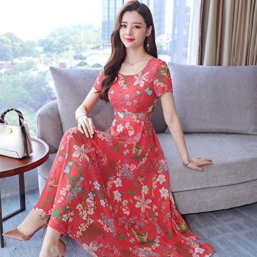 MENSDXA Kleiden Böhmisches Kleid Weibliche Sommer Neue Strand Rock Seaside V-Ausschnitt Floral Super Fairy Chiffon-Kleid, Orange, L