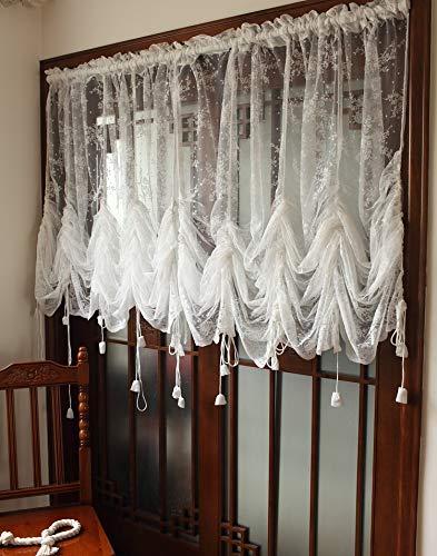 Dokot tenda mantovana vintage, in stile vittoriano, in pizzo bianco, ricamata, con lacci, trasparente, a palloncino romano, white, 200cm h x230cm w