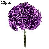 niceEshop(TM) Lot de 10 Pcs Fleurs Artificielles pour Mariage, Rose Artificielle en PE pour la Décoration de Mariage, Fêtes, Noël et Maison (Violet)