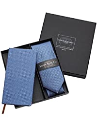 Savile Row Men's Blue White Square Silk Tie And Self Covered Notebook Set
