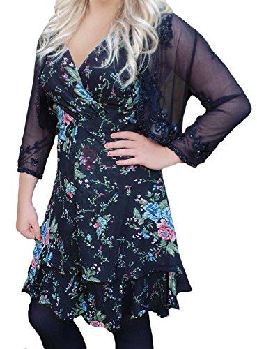 Robe sans manches pour femme Motif Floral Noir Taille 6 35,5 Noir - Noir