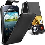 ( Black ) Samsung Galaxy Young 2 GM-130 Protective Faux Cubierta y LCD Protector de pantalla caja de la piel del tirón tarjeta de crédito / débito Leather Slot by ONX3