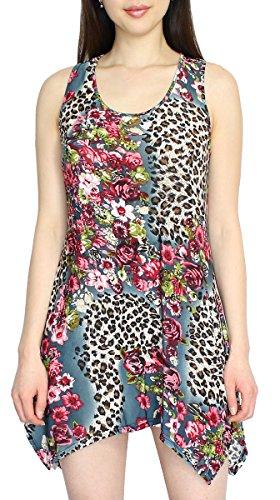 Damen Longshirt Top Mini Kleid Shirtkleid Longtop mit Spitzen am Rücken - TC006 TS006-RedRose
