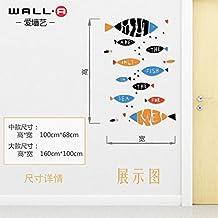 S.Twl.E Preciosa feliz pez viento nórdico de arte original, la decoración de la habitación infantil vinilos adhesivos acrílico cristal 3D Montaje en Pared, Color, tamaño