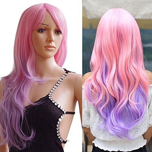 a Lang Mischfarbe Fashion Wig Alltag Seidig Karneval Cosplay Partyperücke (Perücken Lila)