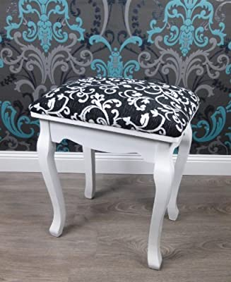 15302 Stool for Dressing Table Baroque Design Black and White