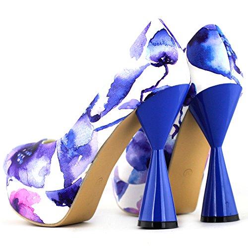Voir l'établissement histoire PeepToe impression Floral glamour cône talon plate-forme parti pompe, LF40812 Bleu