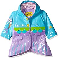 Kidorable Blue Mermaid PU All-Weather Raincoat for Girls with Fish Scale Trim and Star Buttons, 2T