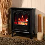 Wido White/Black Free-Standing Electric Stove 1800W Fireplace Flame Effect Variable Heat Setting Heater Portable Log Burner