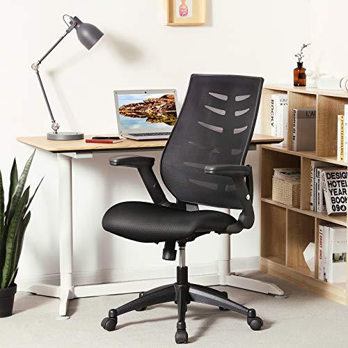 SONGMICS Bürostuhl, ergonomischer Schreibtischstuhl mit Armlehnen, Höhenverstellung und Wippfunktion für Soho- oder Büroarbeit, Belastbar bis 150 kg,