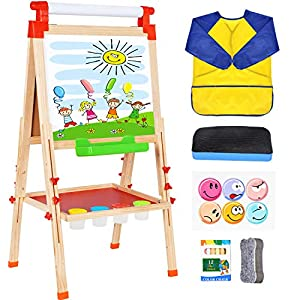 Wesimplelife Kids Art Easel Wooden Easel Double Sided Green and White Board 3 in 1 Adjustable Table Easel Chalkboard with Paper Roller Educational Toy Gifts for Children