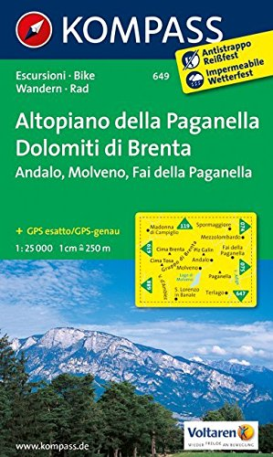 Carta escursionistica n. 649. Altopiano della Paganella, Dolomiti di Brenta 1:25.000. Adatto a GPS. DVD-ROM. Digital map