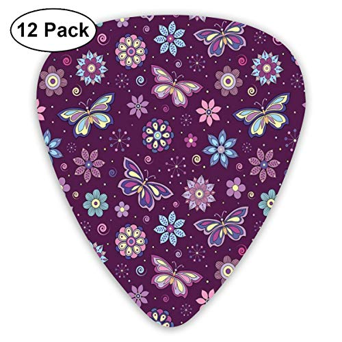 Guitar Picks - Abstract Art Colorful Designs,Vortex Shapes With Polka Dots Background Flower Pattern Colorful Animal Design,Unique Guitar Gift,For Bass Electric & Acoustic Guitars-12 Pack -
