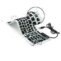 Tastiera USB cablata portatile CHINFAI Tastiera lavabile numerica in silicone pieghevole morbida Impermeabile Roll up Ultra-Slim per iPad Laptop Dispositivi mobili PC (Nero)