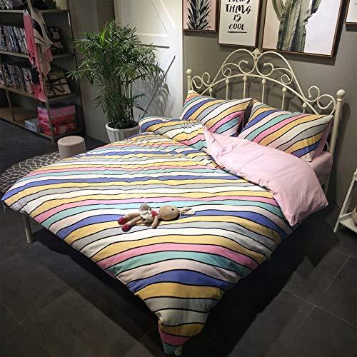 dfsgrfvf Bettwäsche-Set 4tlg. Rainbow Stripe Bettwäsche-Set 100% Baumwolle Bettwäsche Tröster Bettwäschesets Bettwäsche-Set King Queen Twin-In Bettwäsche-Sets