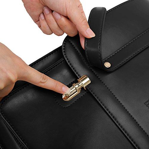 ECOSUSI Borsa Messenger Donna Borsa Laptop in PU Pelle Morbido Borsa Cartella per 14.7 Pollici Borsa a Zaino con Portafoglio, Nero