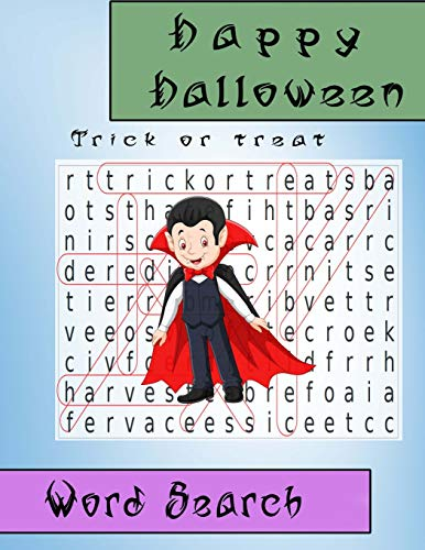Word Search Happy Halloween Trick or Treat: Gift for Kid (Puzzles book) (Night Quiz Halloween)