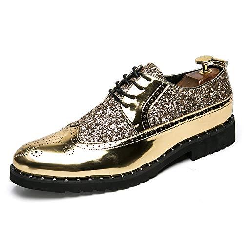 Jingkeke Herren Schnürschuhe im britischen Stil for Herren Slip-on Brautkleid Brogue Schuhe Carved Vamp Synthetic Patent Leather Sequin Decor Ins Auge fallend Mode (Farbe : Gold, Größe : 40 EU) -