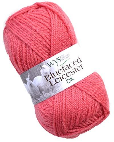 WYS Bluefaced Leicester dk Yarn 542 - Coral, 50g Naturwolle zum Stricken und Häkeln, Blue Faced Leicester Wolle -