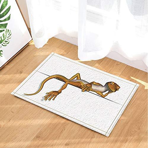 fdswdfg221 3D Print Leisurely Gecko Entspannung auf einem Rand Bad Teppiche rutschfeste Bodeneingänge Outdoor Indoor Haustür Matte 60X40CM Badematte Bad Teppiche