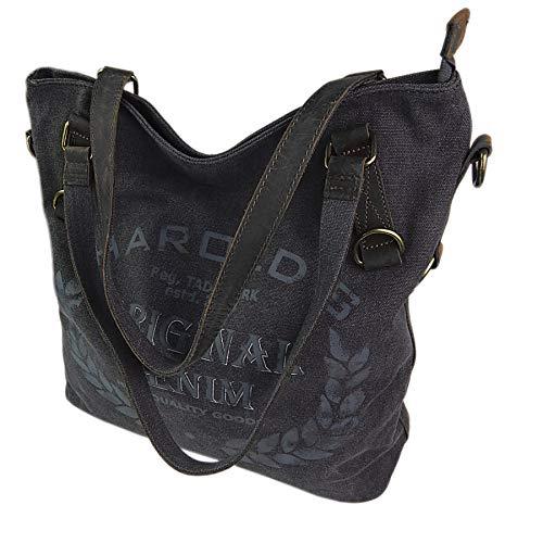ekavale ® Große Canvas Damen Handtasche Shopper Umhängetasche Schultertasche Baumwollstoff Segelstoff Tasche (Grau)