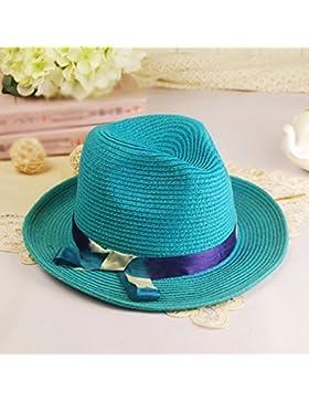 LVLIDAN Sombrero para el sol del verano Lady Anti-sol Sombrero de Paja plegable azul