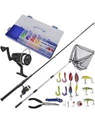 vidaXL Kit de pêche avec lancer télescopique 1,6 m, moulinet et épuisette