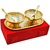 Deva Metals Handmade Gold Silver Plated 5 Pices 2 Bowl ||2 Spoon||1 TraySpecial Standerd Red Box Packing Is Used For Dry Fruit Birthday Gift, Diwali Gift,Wedding Anniversary