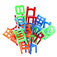 BeesClover 18Pcs/lot Mini Chair Toy Balance Chairs Board Game Plastic Balance Stacking Chairs Desk Play Game Child Interactive Toys Random show