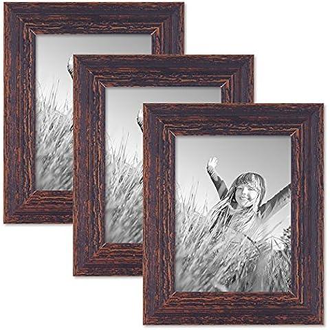 Juego de 3 marcos 15x20 cm madera marrón oscuro, añejo chic de época, madera maciza con cristal y accesorios / marco de fotos / marco