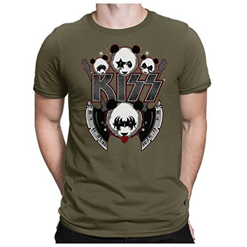 PAPAYANA - Kizz Rock - Herren Fun T-Shirt Bedruckt Music Band Crew Fan - L - Oliv (Ring Pantera)